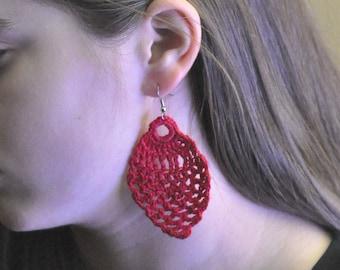 Crochet Burgundy Pineapple Earrings