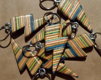 lightning bolt keychain made from recycled skateboards