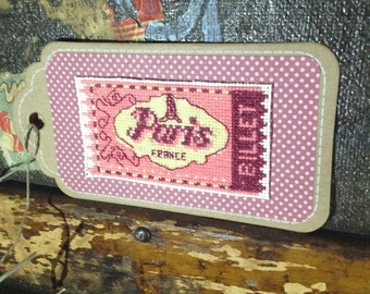 Cross Stitch Gift Tag, Paris Tag, Pink Gift Tag, France Tag, Gift Tag, Paper Tag, Polka Dot Tag, Scrapbook Tag, Eiffel Tower Gift Tag