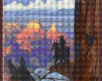 Vintage Grand Canyon Cross Stitch pattern travel poster PDF - Instant Download!