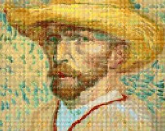 Van Gogh Self Portrait Cross Stitch Pattern - PDF Instant Download