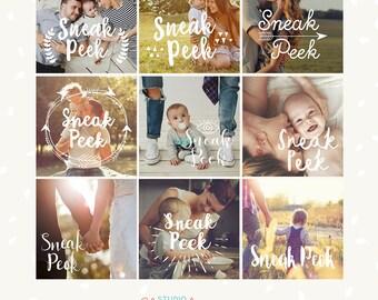 Sneak Peek Photography overlays, Sneak Peek template, photoshop overlay, social media template, hand letter, Sneak peek marketing template