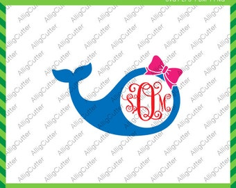 Whale With Bow Monogram Frame SVG DXF PNG eps animal nautical Cut Files for Cricut Design, Silhouette studio, Sure Cuts A Lot, Makes the Cut