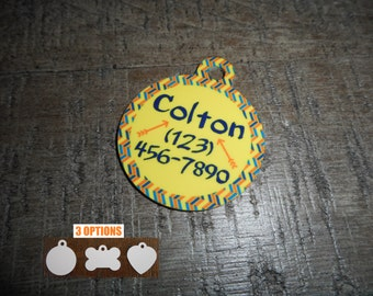 Pet Tags Personalized - Aztec / Chevron / Arrow / Phoenix / Pet Tags / Dog Tags / Cat Tags / Dog ID Tags / Cat ID Tags / Pet Id Tags /