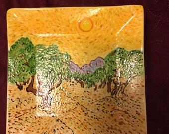 Van Gogh olive grove ceramic plate