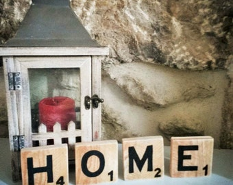 Letter scrabble wood giant to choose in the alphabet, for a vintage effect, pure and natural