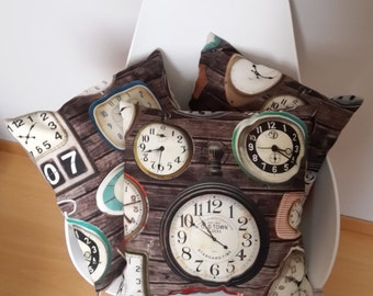 """Clocks"" vintage patterned Cushion cover"
