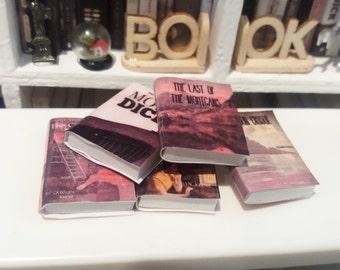 5 miniature books 1/12 for modern dollhouses