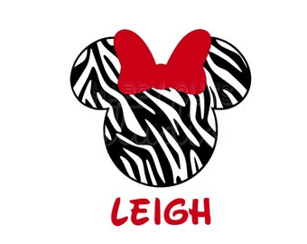 Personalized Zebra Animal Kingdom Print Minnie Mouse with Bow Safari Cheer Dance Matching Family  Disney Iron On Decal Vinyl for Shirt 016