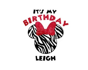 Personalized Zebra Birthday Minnie Mouse with Glitter Bow Mickey Mouse Disney Party Animal Kingdom Disney Iron On Decal Vinyl for Shirt 248