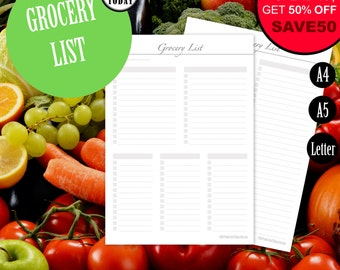 Grocery List Printable Inserts, Printable Shopping List, Planner Inserts, Meal Planner, Weekly Menu, Groceries, Grocery Planner, A5, Letter