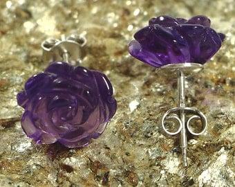 Amethyst Stud Earrings-Silver Earrings- Sterling Silver 925 Earrings-Carved Rose 12mm Earrings
