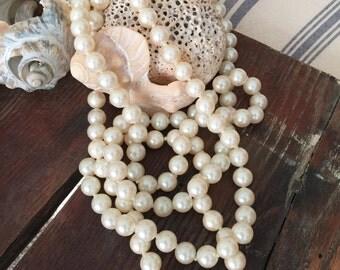 """Vintage Pearls-12mm-30"""" long"""