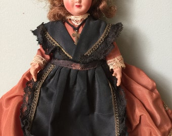 Vintage French Doll. Collectible Doll in Taffeta and Lace