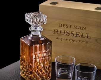 wood box set, custom groomsmen gift, whiskey decanter & glass set with wood box, gift for groomsmen