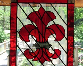 Stained Glass, Red, Fleur De Lis, French, Suncatcher, Glass Art, Ruby Red, French Cross