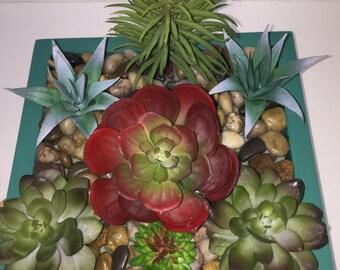 SALE - 50% OFF Faux Succulent Planter, Desk Accessory, Succulent Terrarium, Succulent Garden, Succulent Gift, Artificial Succulent