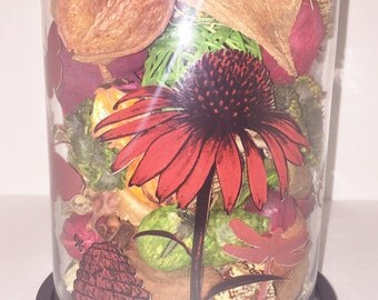 SALE - 50% OFF Botanical Arrangement in Large Cloche, Domed Botanical, Tabletop Accent, Colorful Home Accent, Unique Gift