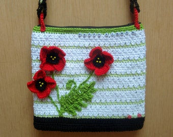 Poppy flower purse, crochet purse pattern, crochet pattern DIY, crossbody purse pattern, bag, purse, poppy