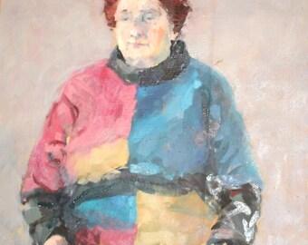 Impressionist oil painting vintage portrait