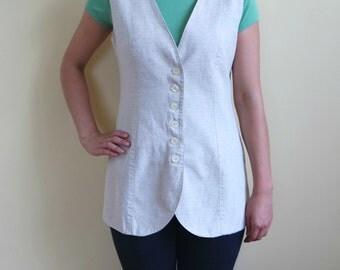 Women's Linen Vest, Cotton Vest, Natural Collor Linen Vest, Long Vest, Linen Waistcoat,Size M
