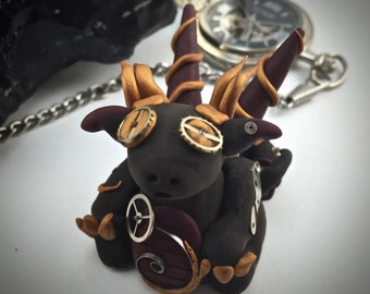 Steampunk Dragon - OOAK Clay Dragon - Polymer Clay Dragon - Clockwork Dragon - Gold and Burgundy Dragon - Miniature Dragon