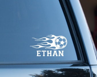 Soccer decal,  Personalized Soccer ball, Personalized Soccer decal, Fire Soccer decal, Soccer ball on fire, Custom Soccer decal, Soccer Gift