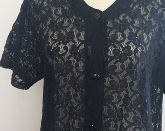 Black lace shirt, lace tshirt, vintage shirt, lace shirt, short sleeved shirt, New Fast shirt,grunge shirt, gothic shirt
