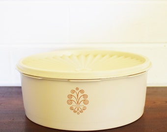 Retro Tupperware - Cake storage container with fan  Lid-  1960's