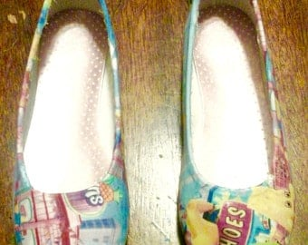 Fabric shopkins ballet flats.