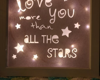 "Light up ""Love you more than all the stars"" box frame."