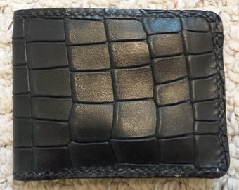 Super Soft Croco DiamondBack Black Leather Wallet