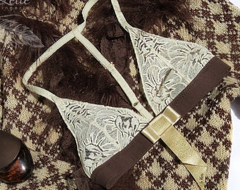 Chocolate and Cream Bralette // Beige bralette // Bra // Brown and Beige Bralette // No padding