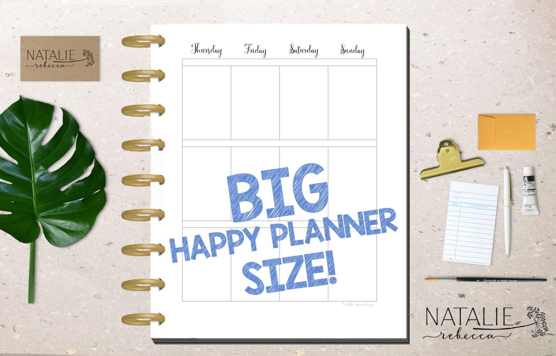 BIG Happy Planner Calendar Insert Happy by NatalieRebeccaDesign