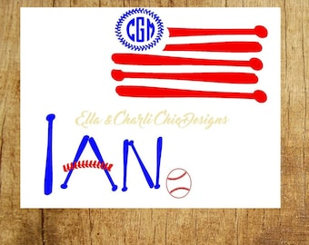 4th of July Heat Transfer Boys, Iron On, Baseball Flag, Baseball Name, Personalized Name, Initials