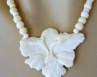 Karla Jordan, Choker Necklace, Flower Pendant, Beaded, Boho Chic, Statement Jewelry, Costume Jewelry, Bride Jewelry