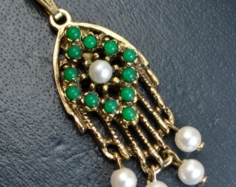 Vintage SARAH COVENTRY Gold Plated Green Paste Turquoise & Pearl Drop PENDANT