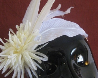 White Flower and Feather Fascinator