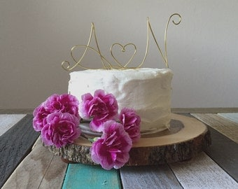 Elegant Initials and Heart Cake Topper