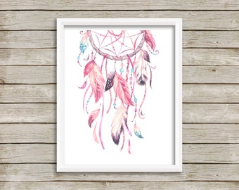 Pink Dreamcatcher Wall Art, Tribal Nursery Art, Boho Wall Art, Girl Nursery Art, Tribal Decor, Dreamcatcher Printable Art, Instant Download