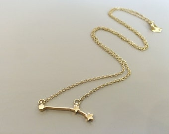 Aries Zodiac Horoscope Constellation Astrology Gold Necklace