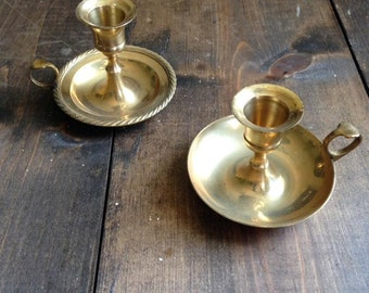 Antique Brass Candle Holders Pair