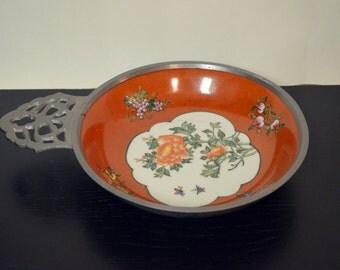 Vintage Hong Kong Canton Ware Pewter and Porcelain Ashtray Hand Painted