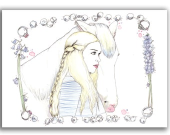 Girl and Horse A6 Postcard Print Illustration