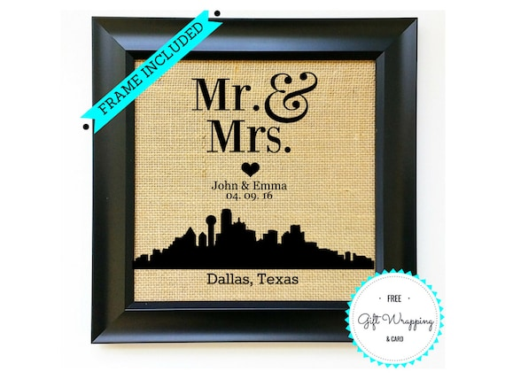 Unique Wedding Gifts Dallas : DALLAS Texas Skyline Personalized Wedding Present for Couples Wedding ...