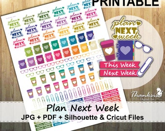 50% OFF SALE, Plan Next Week Printable Planner Stickers, Erin Condren Planner Stickers, Printable Stickers, Plan Next Week - Cut Files