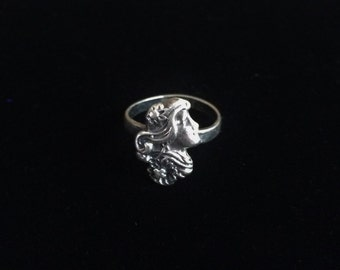 Small Sterling Art Nouveau Ring, Girl's Profile