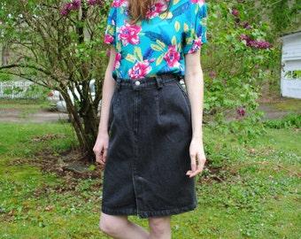 Vintage 90s Calvin Klein Black Denim High Waist Knee Length Grunge Soft Grunge Skirt Size Small