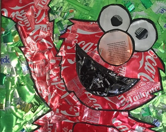 Recycled Soda Can Elmo Eall Hanging - Green Background