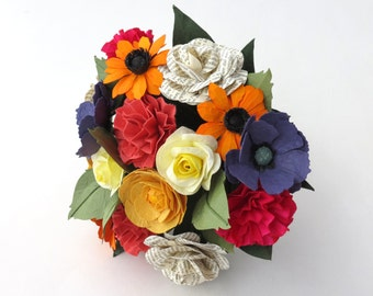 Mixed Flowers Wedding Paper Bouquet in Multicolor and Book Pages